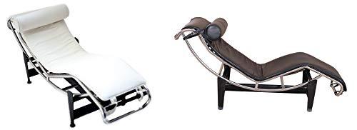 Tumbona de diseño de piel auténtica, color negro o blanco