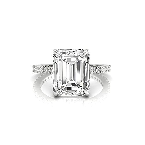 Diamondrensu - Anillo de compromiso de 3,09 quilates, talla escalonada, color esmeralda incoloro, anillo de boda, anillo de catedral, anillo de novia, regalos de aniversario