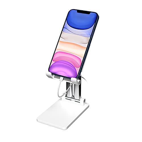 """Soporte Móvil ,KLAS REMO Soporte de Teléfono Móvil Soporte Multiángulo con Base de Aluminio para iPhone 12 Pro MAX 12 Mini 11 XR SE, Xiaomi Red mi, Samsung y Tablet 4-12""""- Blanco"""