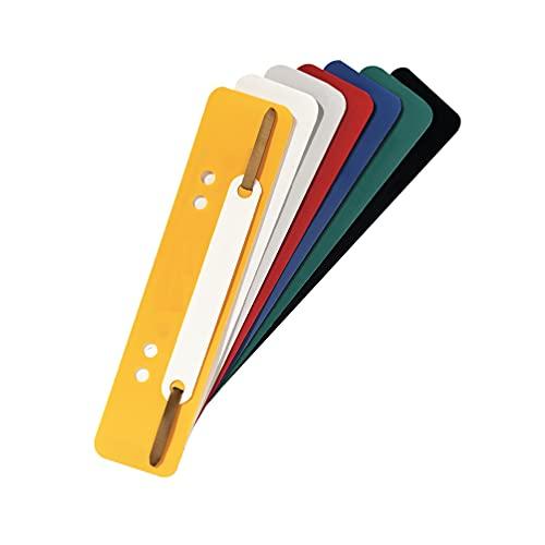 Exacompta 426025B 250er Pack Plastik-Heftstreifen Farbig sortiert. Aus PP-Folie kaufmännische Heftung Aktendulli Hefter Schnellhefter ideal für Büro und Schule