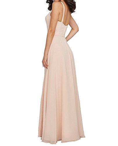 Topkleider Vestido de mujer, blanco, de gasa, sencillo, de línea A, con cuello en V, de dama de honor, largo, de noche, de fiesta fucsia 44