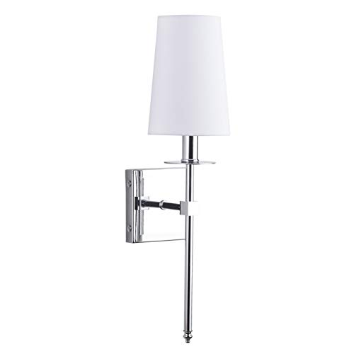Torcia Wall Sconce Slim1 Light Fixture with Fabric Shade | Chrome Vanity Light LL-SC425-PC