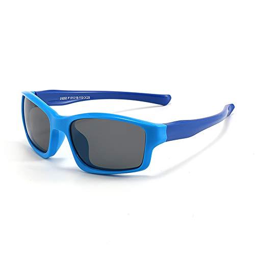 Suertree Flexible Kinder Sonnenbrille, Polarisierte Sonnenbrille Kinder, UV 400 Schutz Sport Sonnenbrillen für Mädchen und Jungen (Blau/Dunkelblau)