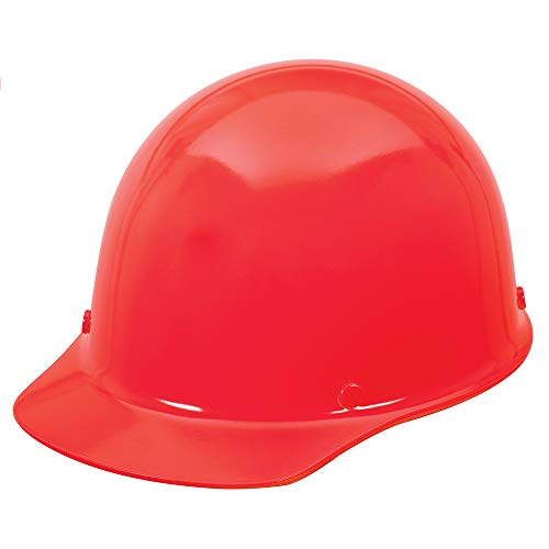 Msa 458702 skullgard cap style safety hard hat with staz-on pinlock suspension | non-slotted cap, made of phenolic resin, radiant heat loads up to 350f - standard size in hi-viz red oran