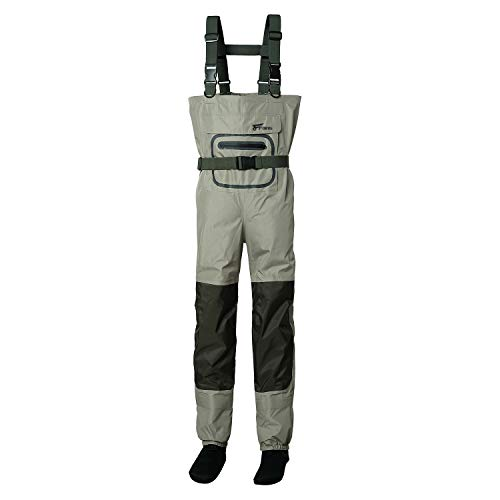 8 Fans Mens&Womens Fishing Chest Waders 3-Ply Durable Breathable and Waterproof with Neoprene Stocking Foot Insulated Fishing Chest Waders, for Duck Hunting, Fly Fishing, A Mesh Storage Bag Included