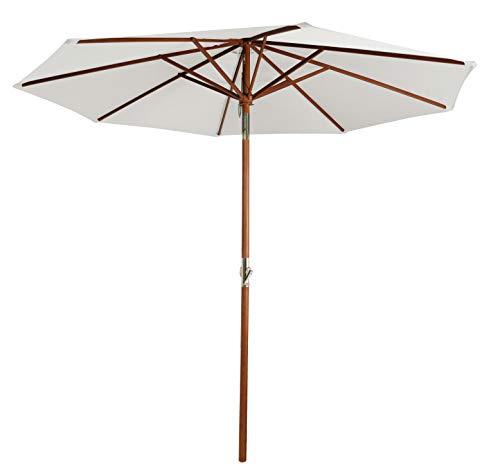 Pure Home & Garden Holz Sonnenschirm Hout 300 cm Natur, mit UV-Schutz 50 Plus, Kurbel, Knickfunktion und abnehmbarem Bezug