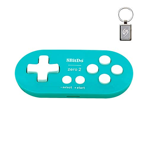 8Bitdo Zero 2 Gamepad Wireless Bluetooth per Nintendo Switch/Windows/Android/macOS/Raspberry Pi Controller Blu con Portachiavi