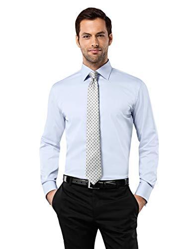 Vincenzo Boretti Herren-Hemd bügelfrei 100% Baumwolle Slim-fit tailliert Umschlagmanschette Uni-Farben - Männer lang-arm Hemden für Anzug Krawatte Business Hochzeit hellblau 37-38