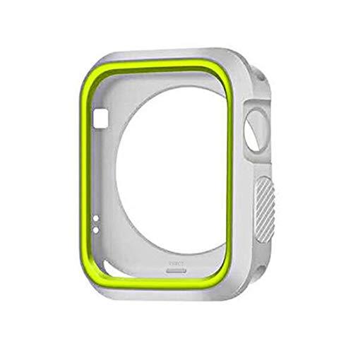 ZAALFC Funda para reloj Apple Watch de 360 grados, 38 mm, 40 mm, 42 mm, 44 mm, TPU protector de pantalla 7/SE/6/5/4/3/2/1 (color: blanco amarillo, tamaño: 42 mm)
