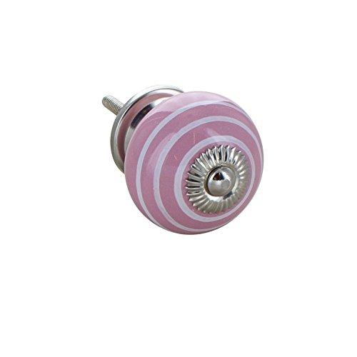 G Decor Poignée de porte, tiroir, placard, poignée ronde en céramique, effet vintage chic, motifs à rayures roses et blanches, 4504-PK