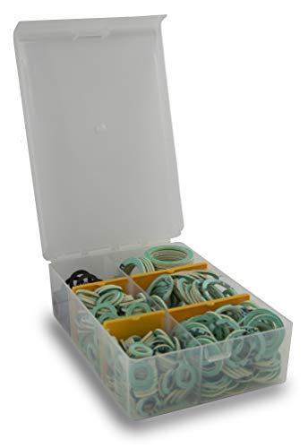 SANTRAS® Dichtungsset mit 225 Flachdichtungen in sieben Typen (3/8 Zoll bis 1 ½ Zoll) – Sehr stabile Dichtungsbox mit Centellen® WS 3820 für Solar, Gas, Wasser, Heizung und Garten