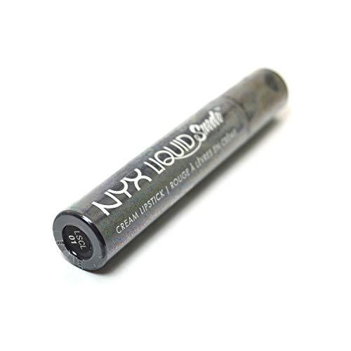Professional Makeup NYX Liquid Suede Cream Lipstick + Free ZipBag (LSCL01 Stone Fox : Deep Grey With Blue Undertone)