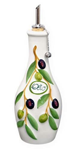 Lashuma Handgemachte Ölflasche mit Ausgießer 500 ml im Olivendesign aus Italienischer Keramik, Größe 23 cm