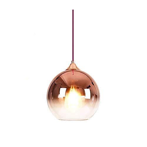Lámpara colgante esférica de vidrio de color degradado lámpara de vidrio moderna lámpara colgante sala de estar nórdica mesita de noche bar restaurante luminaria suspendida oro rosa 20 cm