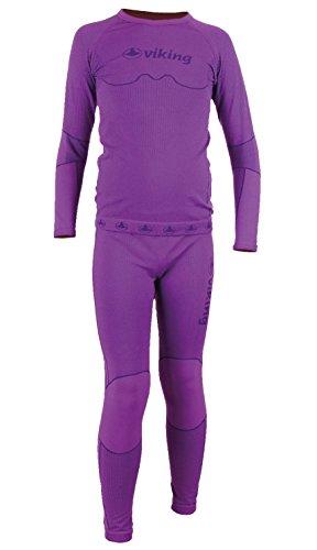 Kit de sous-vêtements pour enfants : legging rIKO viking t-shirt à manches longues Violet Violet 140-152