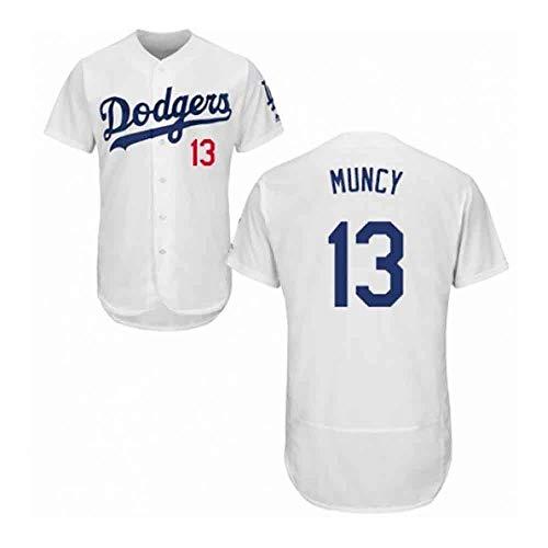 GMRZ Herren Trikot, MLB T-Shirt Mit Los Angeles Dodgers #13 Muncy Logo Design Major League Baseball Team Sportbekleidung Fans Jersey 3D Sommer Bestickte Kurzarm Unisex,Weiß,XXL