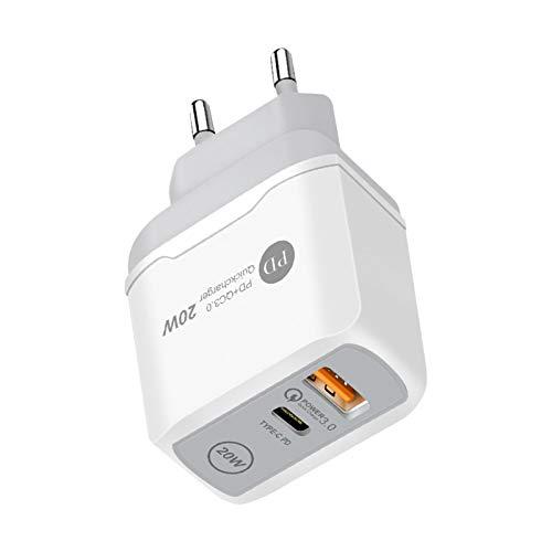 Hengjierun 20-W-USB-C-Ladegerät Für IPhone12, Hochgeschwindigkeits-Ladeadapter Für Geräte Mit USB QC 3.0-Schnellladefunktion, Ohne Kabel, Weiß