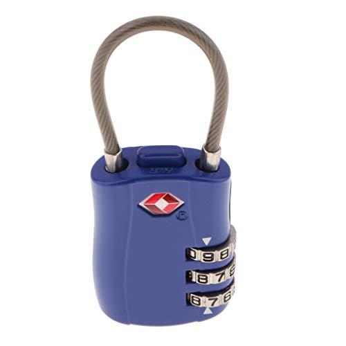 IPOTCH TSA Cable Luggage Locks (1 Pack) - 3 Digit Combination Steel Padlocks - Travel Lock for Suitcases & Backpack, TSA002 - Blue