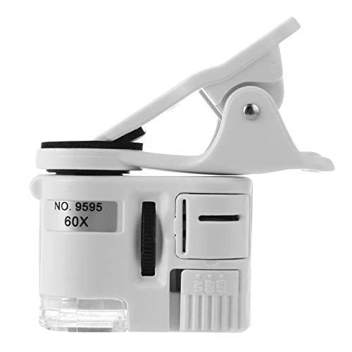 KEKEYANG Instrumento óptico de la cámara LED Instrumento 60X del teléfono móvil Lupa del microscopio Macro Lente de Zoom óptico con Micro Clip Lupa