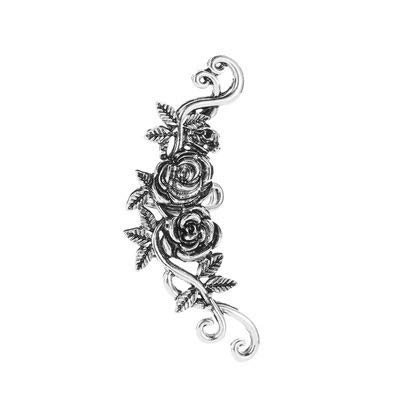 GSZPXF Personality Retro Punk Style Honeybee Rose Alloy Clip Earring Ear Cuff (Color : Flower silver)