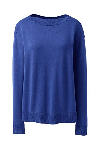 Lands' End Womens Cotton Modal Rib Trimmed Boatneck Sweater Dark Cobalt Blue Regular X-Small
