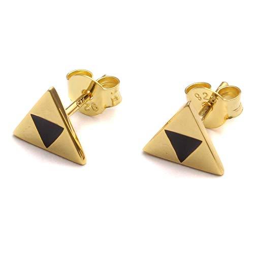 Geek Gaming 925 Sterling Silver Triple Triangle Earrings, Nerd Jewellery Silver