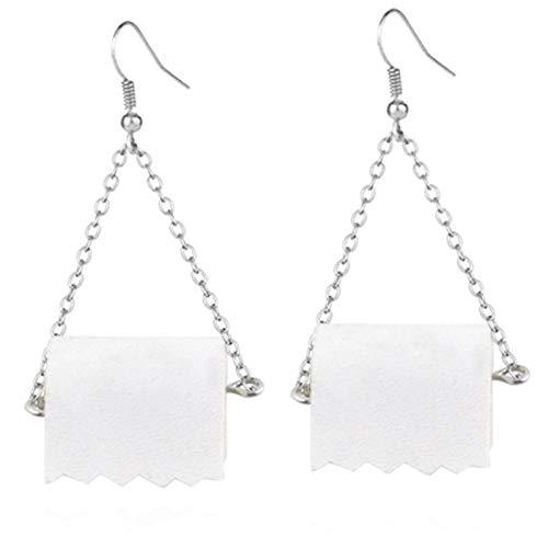 ESIVEL Rolle Papier baumeln Tropfen Ohrringe lustige 3D-Gewebe geometrische Tropfen Ohrringe kreative Papier Handtuch Toilettenpapier Ohrringe für Frauen