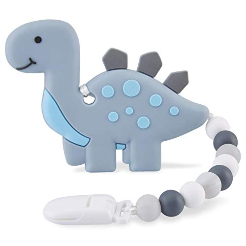 Baby Teething Toys for 36 612 Months Babies Silicone Teethers with Relief Beads Binky Holder and Pacifier Clips Dragon Design for Boys and Girls Gray