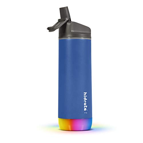 HidrateSpark STEEL Smart Water Bottle - Tracks Water Intake & Glows to Remind You to Stay Hydrated, Straw, 17oz, Deep Blue