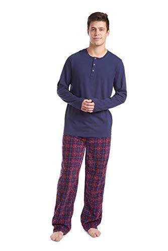 Cherokee Men's Long Sleeve Pajama Shirt and Pants Set, Navy/Red, Large
