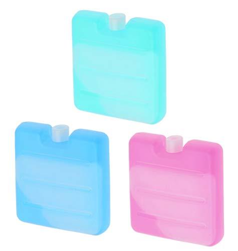 MIK Funshopping Set Mini-Kühlakkus, Kühl-Elemente für die Kühltasche, Kühl-Akku für die Brotdose in 3 Farben (3, Transparent)