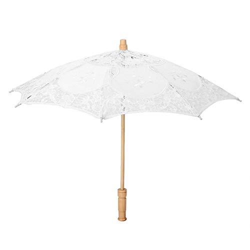 Niiyen Paraguas de Encaje Vintage, sombrilla de Bordado de Flores de Encaje Hecho a Mano, sombrilla de Sol Paraguas Plegable de Bordado de Flores, Paraguas de fotografía de Novia de Boda(Blanco L)