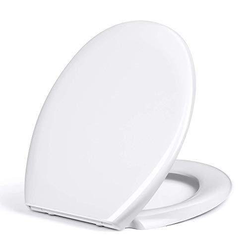 Copriwater ovale bianco, sedile WC con abbassamento automatico, chiusura rapida per una facile pulizia, montaggio semplice