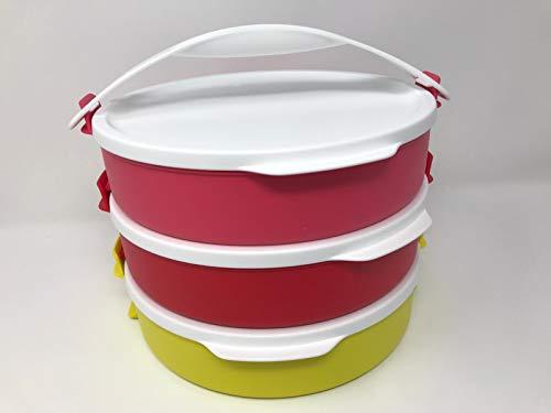 Tupper Set de picnic apilable (3) con asa, 3 x 880 ml, 880 ml, con asa, apilable, cuenco con tapa, color rojo, rosa y amarillo