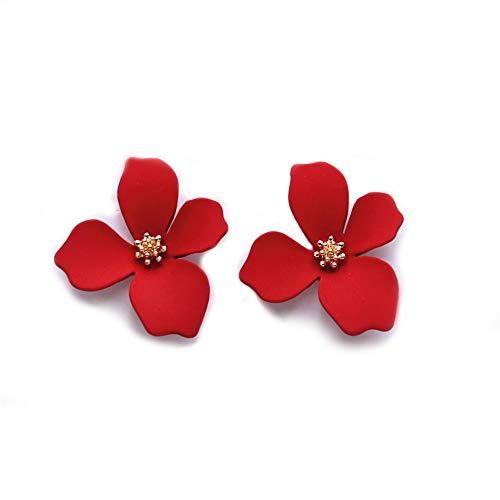 EXINOX Pendientes de Flores | Mujer | Elegantes Pendientes Primavera Verano (Rojo)