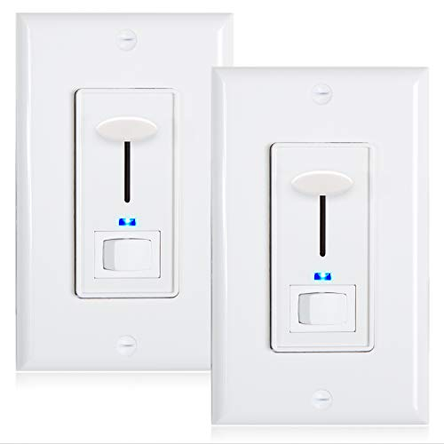 Maxxima 3-Way/Single Pole Dimmer Electrical Light Switch With Blue Indicator Light 600 Watt max, LED Compatible, Wall Plate Included (2 Pack)