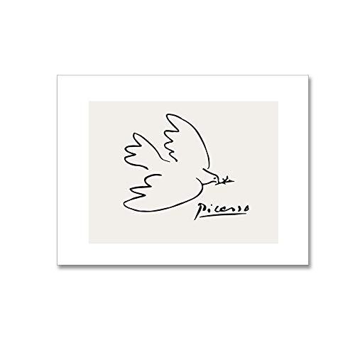 Picasso Friedenstaube Abstrakte Plakatdrucke Minimalistische Wand Bilder Leinwand Malerei Moderne Wohnzimmer Bilder Schlafzimmer Skandinavisches Dekor 40X60cm Nein Gerahmt