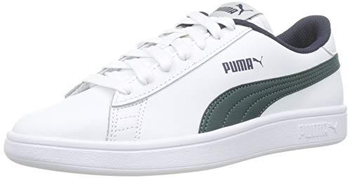 Puma Smash v2 L Jr, Scarpe da Ginnastica Basse Unisex-Bambini, Bianco White-Ponderosa Pine-Peacoat, 38 EU