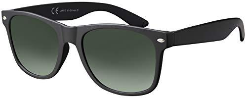 Sonnenbrille Herren Damen La Optica UV 400 CAT 3 CE Retro - Einzelpack Matt Schwarz (Gläser: Grün Verlauf)