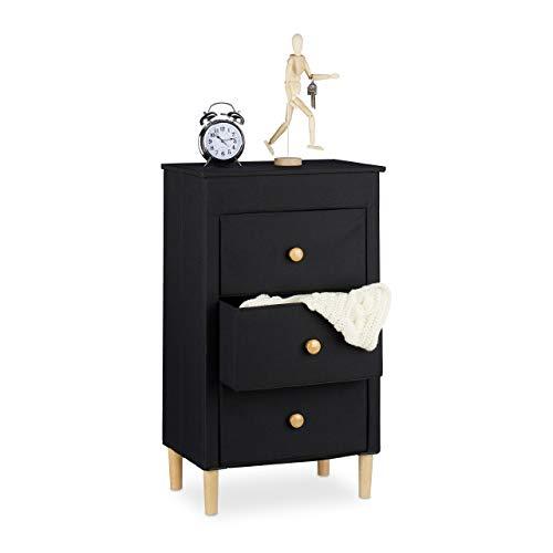 Relaxdays, zwart opvouwbare ladenkast stof, 3 laden met handgrepen, ruimtebesparend, houten poten, 82 x 48 x 32 cm, polyester, karton, hout