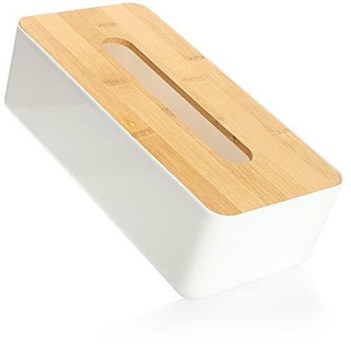 com-four® Scatola di fazzoletti Cosmetici in plastica con Coperchio in bambù - Scatola di fazzoletti per Bagno, Camera da Letto e Soggiorno - Dispenser di Asciugamani (1 Pezzo - Bianco/Marrone)