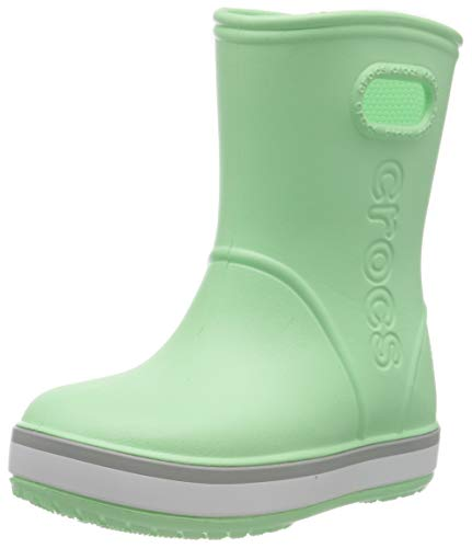 Crocs Crocband Rain Boot Kids, Unisex-Kinder Gummistiefel, Grün (Neo Mint/Light Grey 3to), 32/33 EU (Herstellergröße: 1)