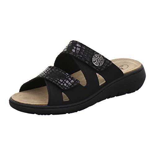 AFS-Schuhe 2808, komfortable Damen-Pantoletten aus Leder, praktische Arbeitsschuhe mit Wechselfußbett, Bequeme Hausschuhe (39 EU, schwarz)