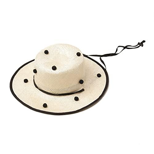 GREEN&RARE Sombrero de paja de verano para niños pequeños y niñas, linda bola de pompón, ala grande, protector solar, playa, con correa para la barbilla, para viajes en la playa, senderismo