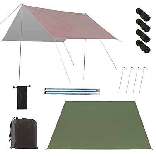 0℃ Outdoor Toldos Vela Rectangulares, 3,3 X 3m Ripstop Rain Tarp Beach Tent de Tela Oxford Impermeable de 2000 Mm Hamaca Tienda de Campaña para Camping, Viajes, Hamacas, Carpa,Coffee+Green