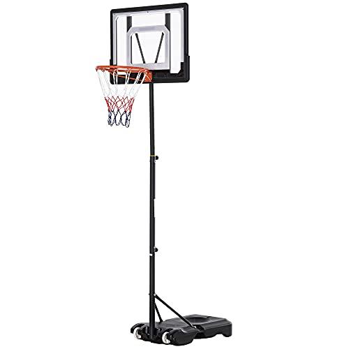 homcom Canestro Basket Altezza Regolabile 160-210cm, Struttura in Acciaio e Base con Ruote, Tabellone in PE Trasparente