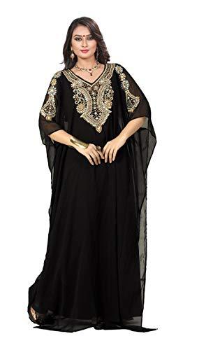 KoC Women's Kaftan Maxi Dress Farasha Caftan KFTN117-Black