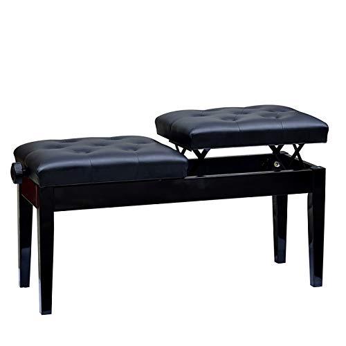 Taburete De Piano Doble, Elevable, Taburete De Piano Hijo-Madre, Taburete con Teclado De Cuero Negro, Altura Ajustable 46-56 Cm, Adecuado para EnseñAr Instrumentos Musicales