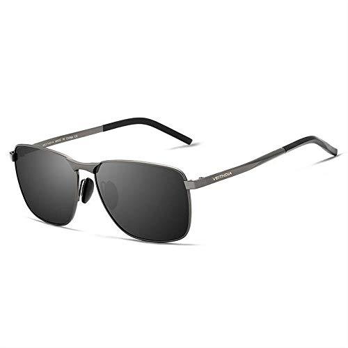 VEUTHDIA gafas de sol polarizadas para hombre con montura metálica UV 400 gafas deportivas para conductor 2462 (Lente: gris/montura: gris)