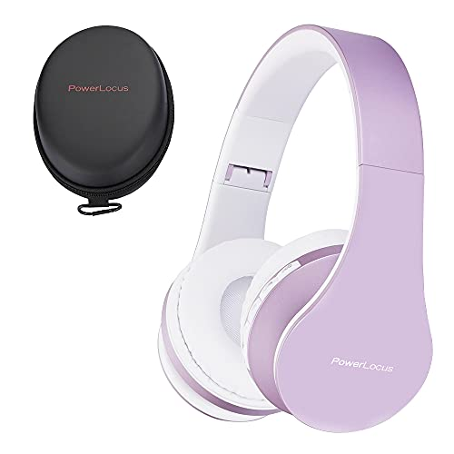 PowerLocus P1 – Auriculares Bluetooth inalambricos de Diadema Cascos Plegables, Casco Bluetooth con Sonido Estéreo con Conexión a Bluetooth Inalámbrico y Audio Cable para Movil,PC,Tablet-Morado/Blanco